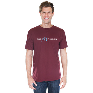 Burgundy 100% Cotton T-Shirt with Pure Michigan Logo