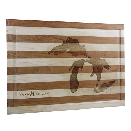 17 inch by 12 inch Pure Michigan Cherry and Maple Cutting Board with Great Lakes Logo