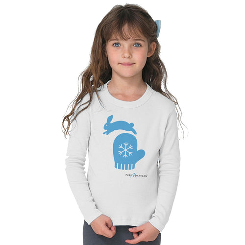 Youth L/S T-Shirt with Mitten & Bunny MI Graphic
