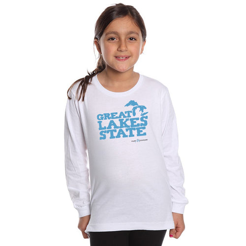 Youth L/S T-Shirt with Great Lakes State Graphic
