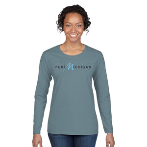 Neptune 100% Organic Cotton Long Sleeve T-Shirt with Pure Michigan Logo - Female Model