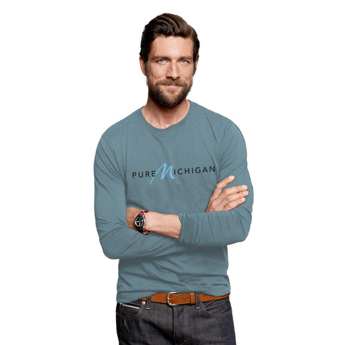 Neptune 100% Organic Cotton Long Sleeve T-Shirt with Pure Michigan Logo - Male Model
