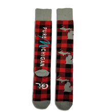 Load image into Gallery viewer, Pure Michigan Socks - Red Plaid