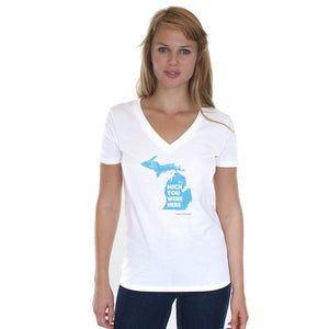 Women's White V-Neck w/Mich You Were Here Graphic