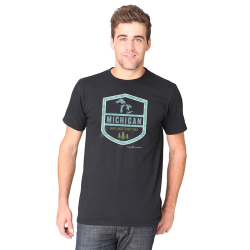 Black 100% Cotton T-Shirt w/Michigan Shield Design