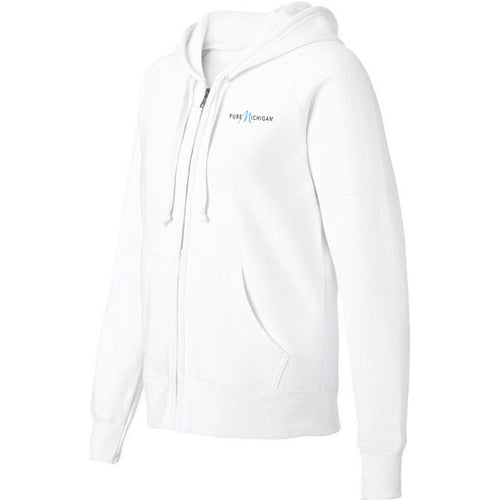 White Fleece Zip-Up Hoodie
