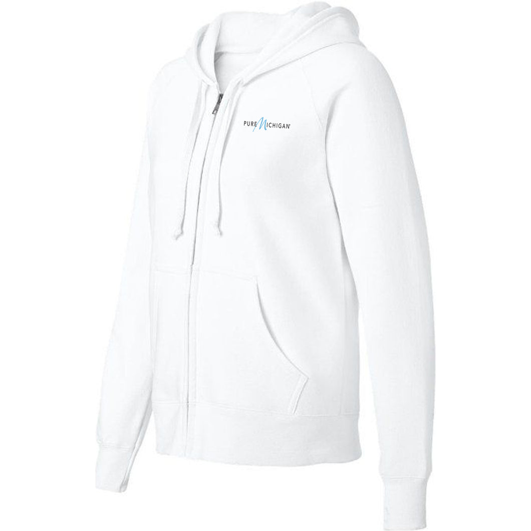 White Fleece Zip-Up Hoodie w/Pure Michigan Logo