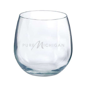 16.75 oz. Pure Michigan Logo Vina Stemless Red Wine Glasses