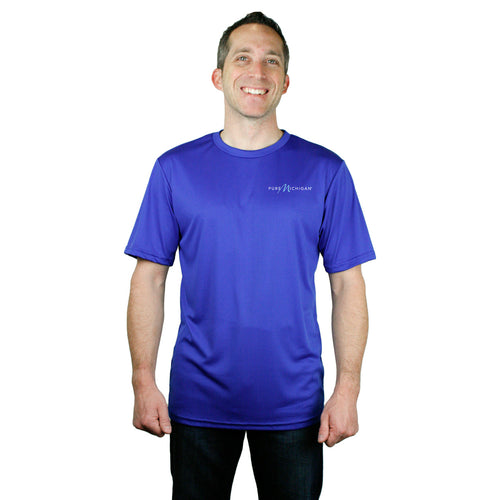 Blue Microtech Performance T-Shirt w/Pure Michigan Logo