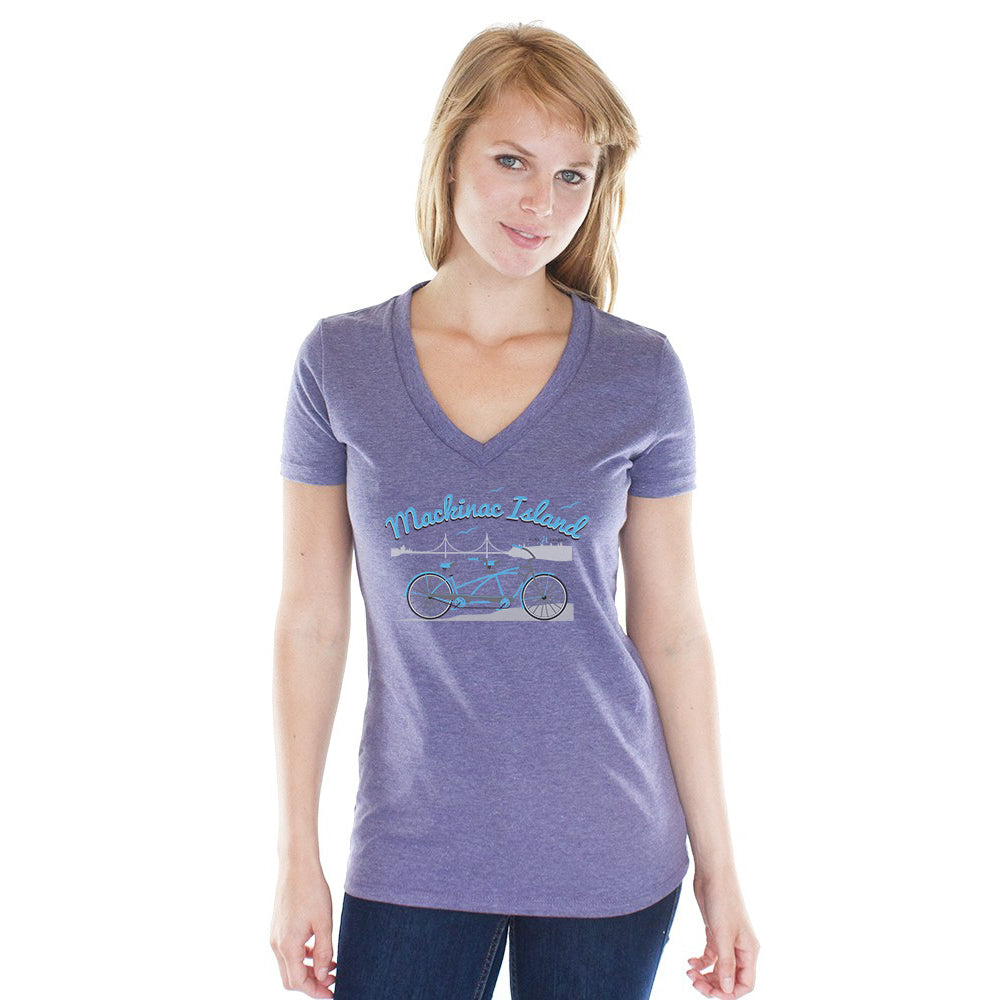 Women's Heather Purple V-Neck w/Mackinac Island Bicycle Graphic