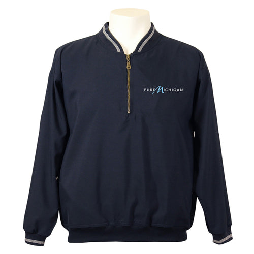 Navy 1/4-Zip Windshirt w/Pure Michigan Logo