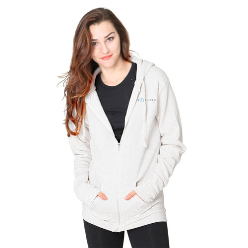 Oatmeal Tri-Blend Zip-Up Hoodie with Pure Michigan Logo - Female Model