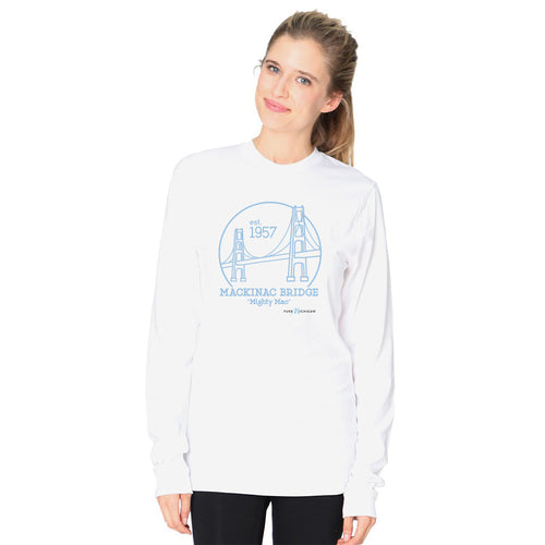 White L/S T-Shirt w/Mackinac Bridge Design
