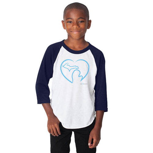 Youth White/Navy Blue Raglan 3/4 Sleeve Pure Michigan Shirt