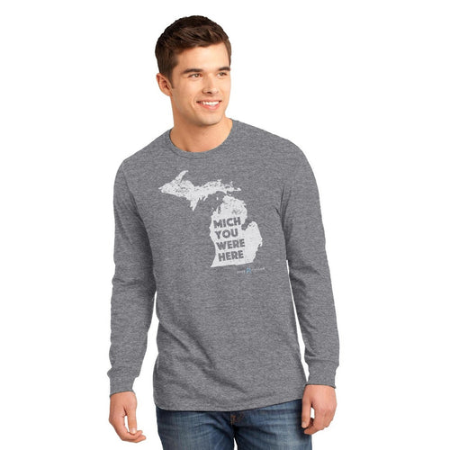 Grey Long Sleeve T-Shirt with Mich You Were Here Graphic - Male Model