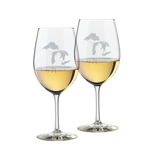 16 oz. Pure Michigan Logo Wine Glasses with Great Lakes design