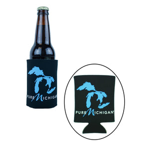 Pure Michigan Can or Bottle Koozie with Great Lakes graphic