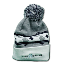 Load image into Gallery viewer, Grey and Black Pure Michigan Knit Cap with Embroidered Logo