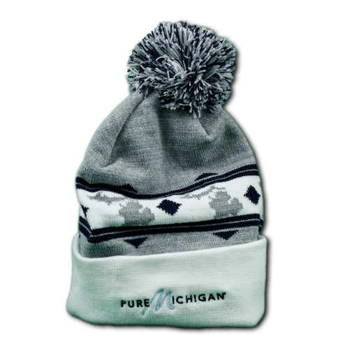 Grey and Black Pure Michigan Knit Cap with Embroidered Logo