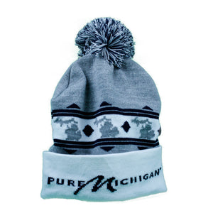 Grey and Black Pure Michigan Knit Cap with Large Logo