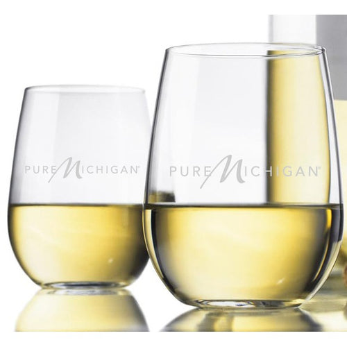17 oz. Pure Michigan Logo Stemless White Wine Glasses