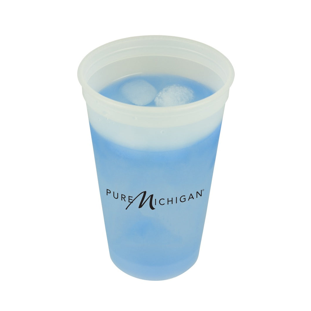 20 ounce color changing cup with Pure Michigan logo on both sides