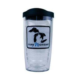 16 oz. Pure Michigan Black Logo Tervis Tumbler with Lid