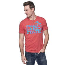 Load image into Gallery viewer, Cardinal 50/50 Blend T-Shirt with Blue Great Lakes State Logo