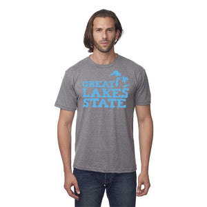 Charcoal 50/50 Blend T-Shirt with Blue Great Lakes State Logo