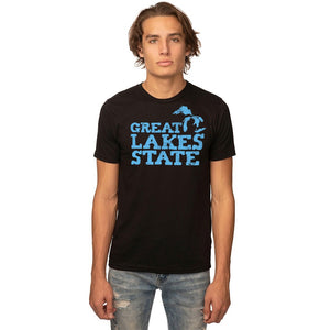 Black 50/50 Blend T-Shirt with Blue Great Lakes State Logo
