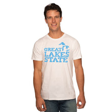 Load image into Gallery viewer, White 50/50 Blend T-Shirt with Blue Great Lakes State Logo