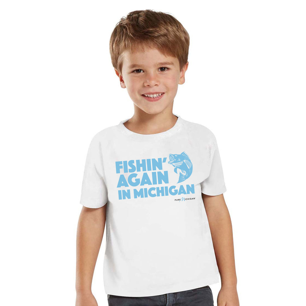 Toddler White T-Shirt w/Fishin' Again Design