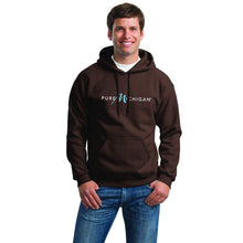 Load image into Gallery viewer, Chocolate Pullover Hoodie with Pure Michigan Logo