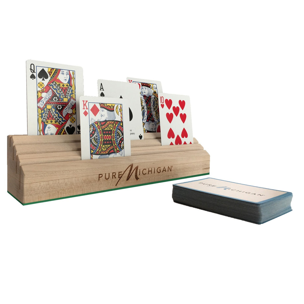 Pure Michigan Wooden Playing Card Holder - Front View