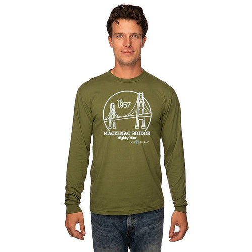 Mackinac Bridge Long Sleeve Olive T-Shirt with Pure Michigan Logo