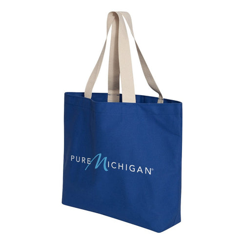 Jumbo Royal Blue Tote with Pure Michigan Logo