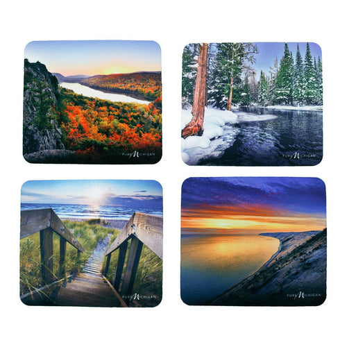 Seasonal Mouse Pad 4-Pack with Pure Michigan Logo