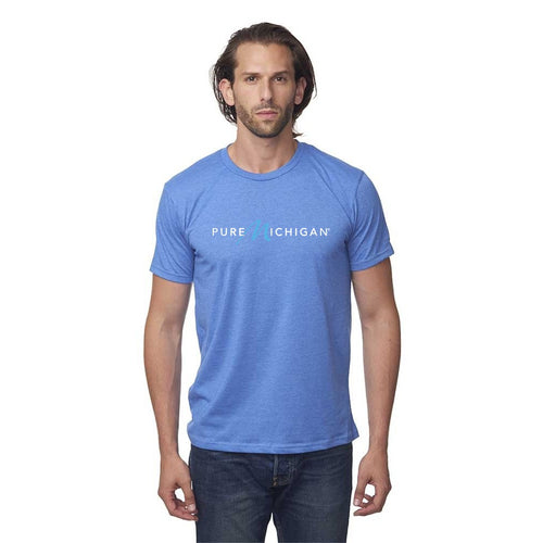 Sea Blue 50/50 Blend T-Shirt with WhitePure Michigan Logo
