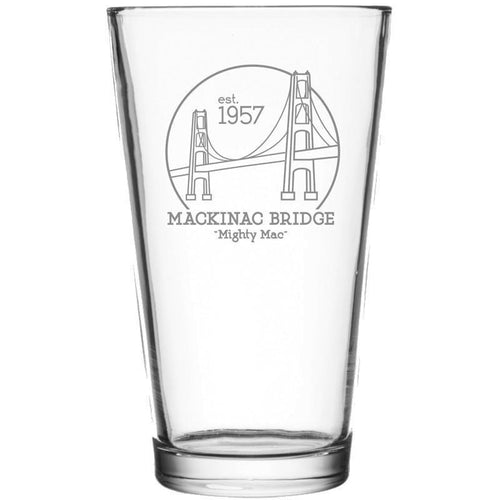 Mackinac Bridge Pint Glass Front with Etched Bridge Design