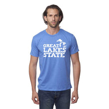 Load image into Gallery viewer, Sea Blue 50/50 Blend T-Shirt with White Great Lakes Graphic on Front