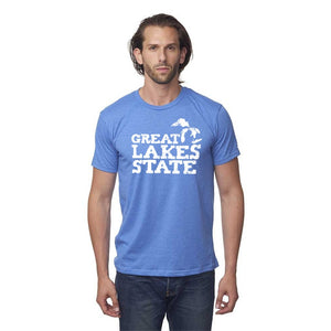 Sea Blue 50/50 Blend T-Shirt with White Great Lakes Graphic on Front