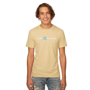 Champagne 50/50 Blend T-Shirt with White Pure Michigan Logo