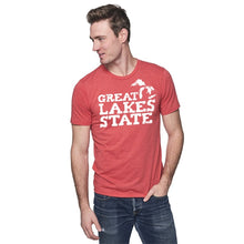 Load image into Gallery viewer, Cardinal 50/50 Blend T-Shirt with White Great Lakes Graphic on Front