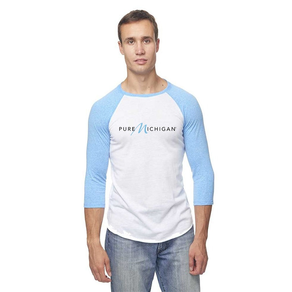 Pure Michigan Unisex Tri-Blend Raglan 3/4 Sleeve T-Shirt - Pool Blue