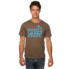 Load image into Gallery viewer, Mocha 50/50 Blend T-Shirt with Blue Great Lakes State Logo
