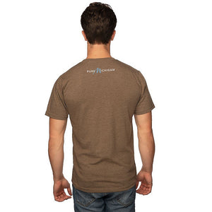 Mocha 50/50 Blend T-Shirt with Black/Blue Pure Michigan Logo on Reverse