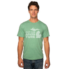 Load image into Gallery viewer, Kelly Green 50/50 Blend T-Shirt Front with Out For an Adventure Graphic