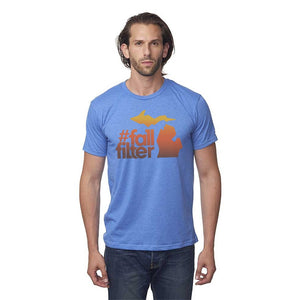 Sea Blue 50/50 Blend T-Shirt with Fall Filter Design on Front
