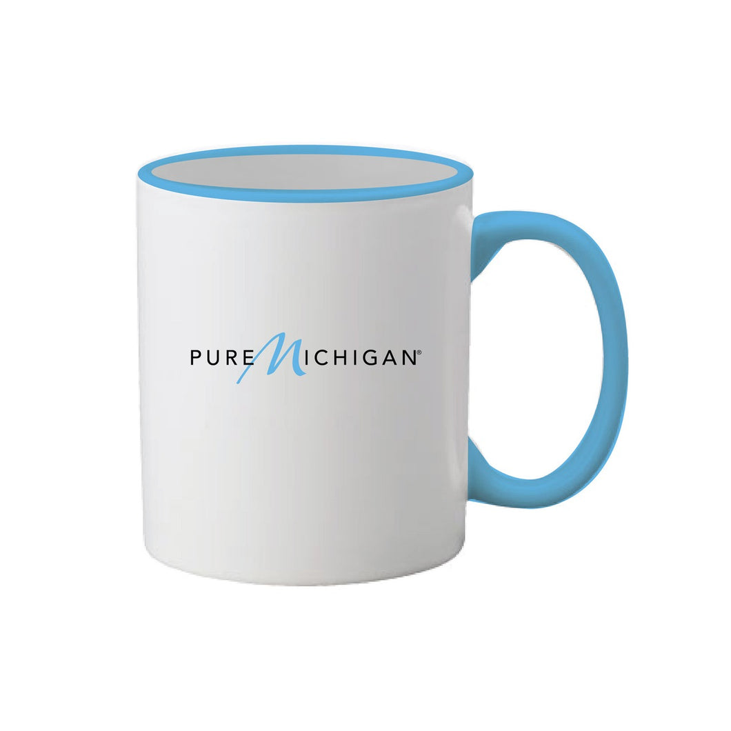 11 oz. Pure Michigan White Coffee Mug with Light Blue Rim and Handle