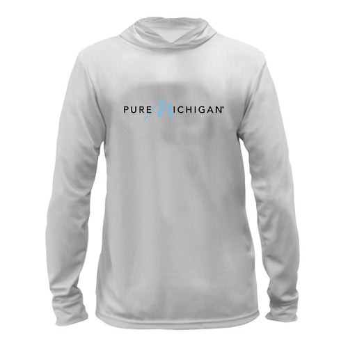 Silver Performance Hoodie w/Pure Michigan Logo
